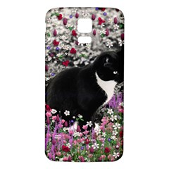 Freckles In Flowers Ii, Black White Tux Cat Samsung Galaxy S5 Back Case (white) by DianeClancy