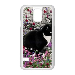 Freckles In Flowers Ii, Black White Tux Cat Samsung Galaxy S5 Case (white) by DianeClancy