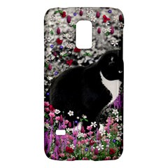 Freckles In Flowers Ii, Black White Tux Cat Galaxy S5 Mini by DianeClancy
