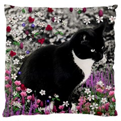 Freckles In Flowers Ii, Black White Tux Cat Large Flano Cushion Case (one Side) by DianeClancy