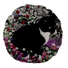 Freckles In Flowers Ii, Black White Tux Cat Large 18  Premium Flano Round Cushions by DianeClancy