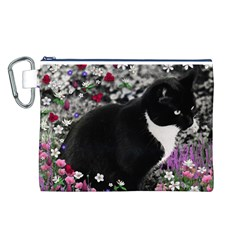 Freckles In Flowers Ii, Black White Tux Cat Canvas Cosmetic Bag (l) by DianeClancy