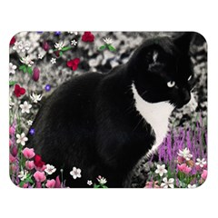 Freckles In Flowers Ii, Black White Tux Cat Double Sided Flano Blanket (large)  by DianeClancy