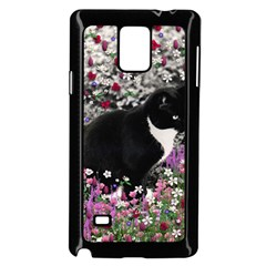 Freckles In Flowers Ii, Black White Tux Cat Samsung Galaxy Note 4 Case (black) by DianeClancy