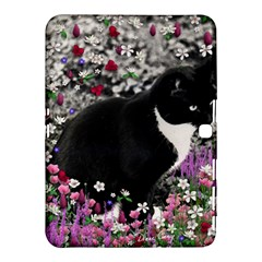 Freckles In Flowers Ii, Black White Tux Cat Samsung Galaxy Tab 4 (10 1 ) Hardshell Case  by DianeClancy