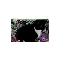 Freckles In Flowers Ii, Black White Tux Cat Cosmetic Bag (xs) by DianeClancy