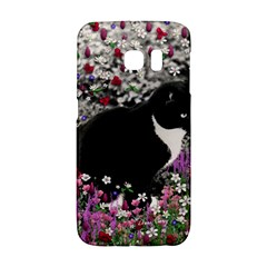 Freckles In Flowers Ii, Black White Tux Cat Galaxy S6 Edge by DianeClancy