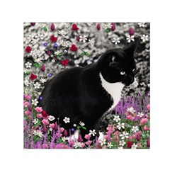 Freckles In Flowers Ii, Black White Tux Cat Small Satin Scarf (square) by DianeClancy