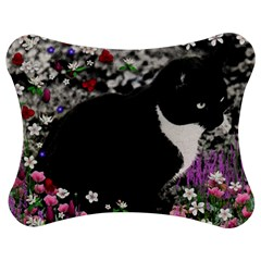 Freckles In Flowers Ii, Black White Tux Cat Jigsaw Puzzle Photo Stand (bow) by DianeClancy