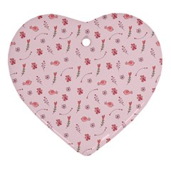 Cute Pink Birds And Flowers Pattern Heart Ornament (2 Sides) by TastefulDesigns