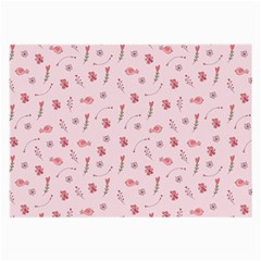 Cute Pink Birds And Flowers Pattern Large Glasses Cloth by TastefulDesigns