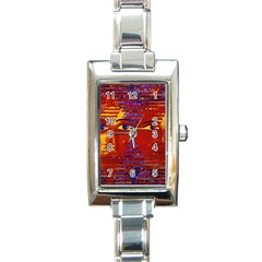 Conundrum Iii, Abstract Purple & Orange Goddess Rectangle Italian Charm Watch by DianeClancy