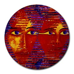 Conundrum Iii, Abstract Purple & Orange Goddess Round Mousepads by DianeClancy