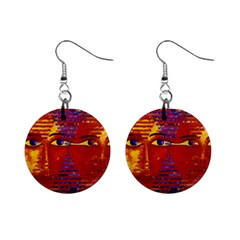 Conundrum Iii, Abstract Purple & Orange Goddess Mini Button Earrings by DianeClancy