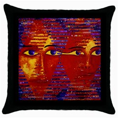 Conundrum Iii, Abstract Purple & Orange Goddess Throw Pillow Case (black) by DianeClancy