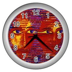 Conundrum Iii, Abstract Purple & Orange Goddess Wall Clocks (silver)  by DianeClancy