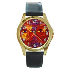 Conundrum Iii, Abstract Purple & Orange Goddess Round Gold Metal Watch by DianeClancy
