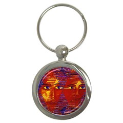 Conundrum Iii, Abstract Purple & Orange Goddess Key Chains (round)  by DianeClancy