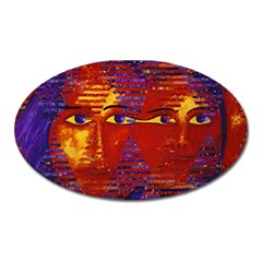 Conundrum Iii, Abstract Purple & Orange Goddess Oval Magnet by DianeClancy