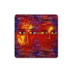 Conundrum Iii, Abstract Purple & Orange Goddess Square Magnet by DianeClancy