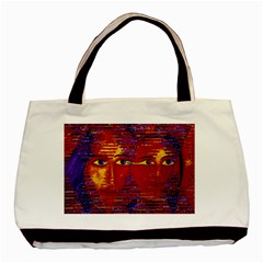 Conundrum Iii, Abstract Purple & Orange Goddess Basic Tote Bag by DianeClancy
