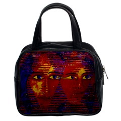 Conundrum Iii, Abstract Purple & Orange Goddess Classic Handbags (2 Sides) by DianeClancy