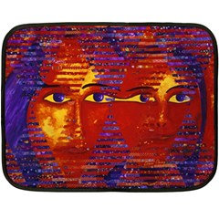 Conundrum Iii, Abstract Purple & Orange Goddess Fleece Blanket (mini) by DianeClancy