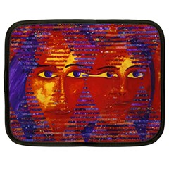 Conundrum Iii, Abstract Purple & Orange Goddess Netbook Case (xl)  by DianeClancy