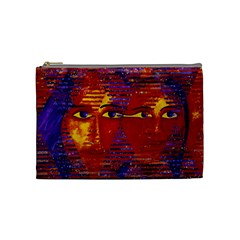 Conundrum Iii, Abstract Purple & Orange Goddess Cosmetic Bag (medium)  by DianeClancy
