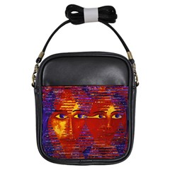 Conundrum Iii, Abstract Purple & Orange Goddess Girls Sling Bags by DianeClancy
