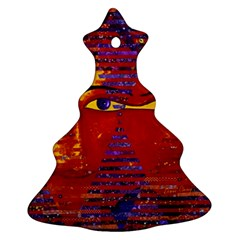 Conundrum Iii, Abstract Purple & Orange Goddess Christmas Tree Ornament (2 Sides) by DianeClancy
