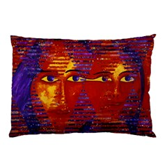 Conundrum Iii, Abstract Purple & Orange Goddess Pillow Case (two Sides) by DianeClancy