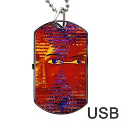 Conundrum Iii, Abstract Purple & Orange Goddess Dog Tag Usb Flash (two Sides)  by DianeClancy