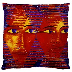 Conundrum Iii, Abstract Purple & Orange Goddess Large Cushion Case (two Sides) by DianeClancy