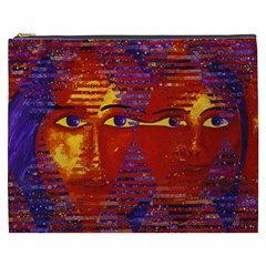 Conundrum Iii, Abstract Purple & Orange Goddess Cosmetic Bag (xxxl)  by DianeClancy