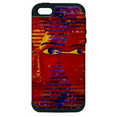 Conundrum Iii, Abstract Purple & Orange Goddess Apple Iphone 5 Hardshell Case (pc+silicone) by DianeClancy