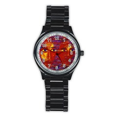 Conundrum Iii, Abstract Purple & Orange Goddess Stainless Steel Round Watch by DianeClancy