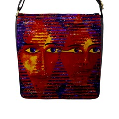 Conundrum Iii, Abstract Purple & Orange Goddess Flap Messenger Bag (l)  by DianeClancy