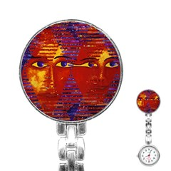 Conundrum Iii, Abstract Purple & Orange Goddess Stainless Steel Nurses Watch by DianeClancy