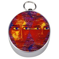 Conundrum Iii, Abstract Purple & Orange Goddess Silver Compasses by DianeClancy