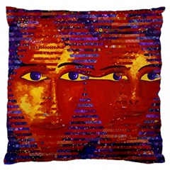 Conundrum Iii, Abstract Purple & Orange Goddess Large Flano Cushion Case (two Sides) by DianeClancy