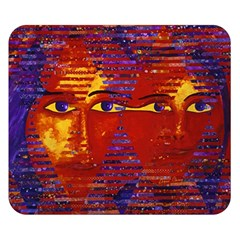 Conundrum Iii, Abstract Purple & Orange Goddess Double Sided Flano Blanket (small)  by DianeClancy