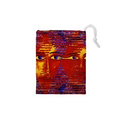 Conundrum Iii, Abstract Purple & Orange Goddess Drawstring Pouches (xs)  by DianeClancy