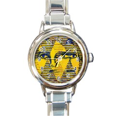 Conundrum Ii, Abstract Golden & Sapphire Goddess Round Italian Charm Watch by DianeClancy