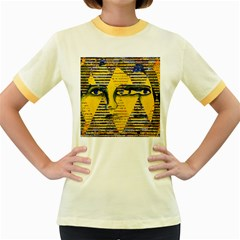 Conundrum Ii, Abstract Golden & Sapphire Goddess Women s Fitted Ringer T Shirts by DianeClancy