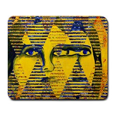 Conundrum Ii, Abstract Golden & Sapphire Goddess Large Mousepads by DianeClancy