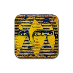 Conundrum Ii, Abstract Golden & Sapphire Goddess Rubber Coaster (square)  by DianeClancy