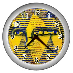 Conundrum Ii, Abstract Golden & Sapphire Goddess Wall Clocks (silver)  by DianeClancy