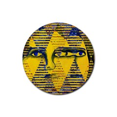 Conundrum Ii, Abstract Golden & Sapphire Goddess Rubber Round Coaster (4 Pack)  by DianeClancy