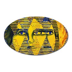 Conundrum Ii, Abstract Golden & Sapphire Goddess Oval Magnet by DianeClancy